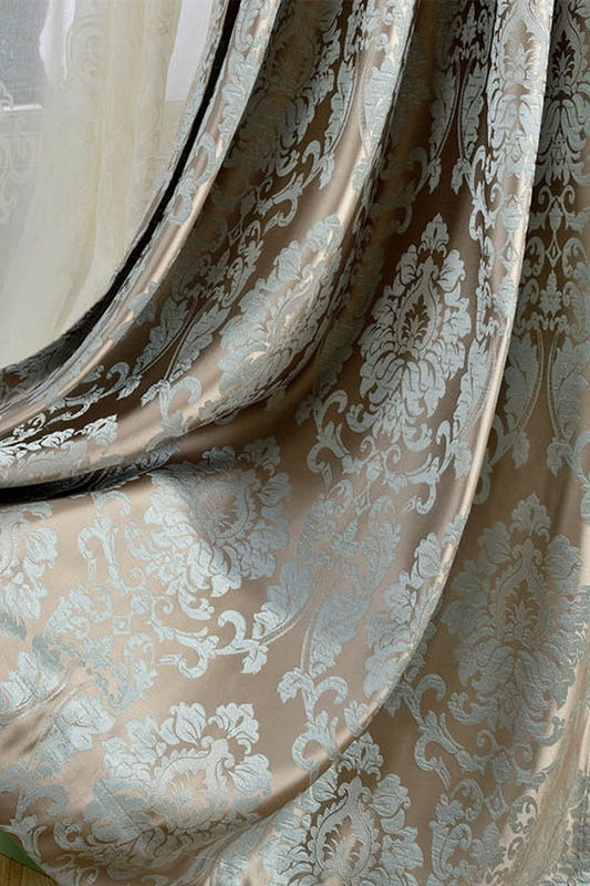 European Damask Curtains For Living Room Luxury Jacquard Blind Drapes Window Panel Fabric Curtain For Bedroom Shading 70% Custom