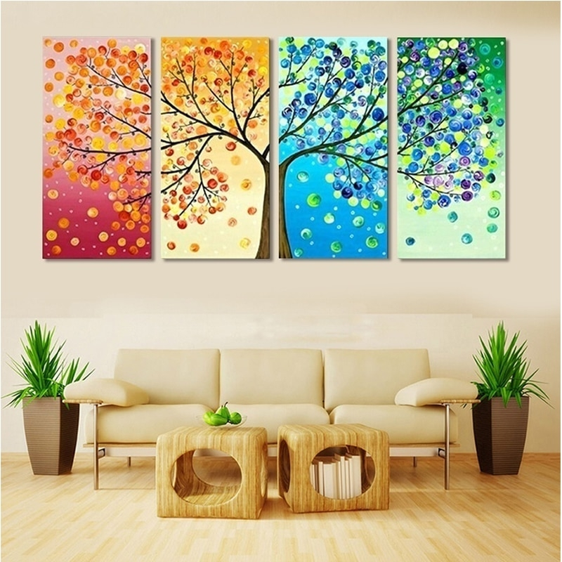 Colorful Leaf Trees 4 Piece painting
