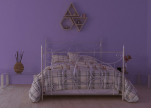 purple wall bedroom